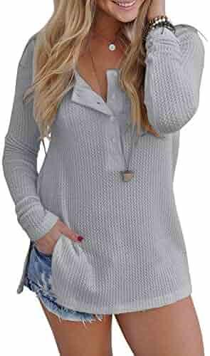 59e571237c608 Yidarton Womens Waffle Knit Tunic Blouse Henley Tops Loose Fitting Plain  Shirts