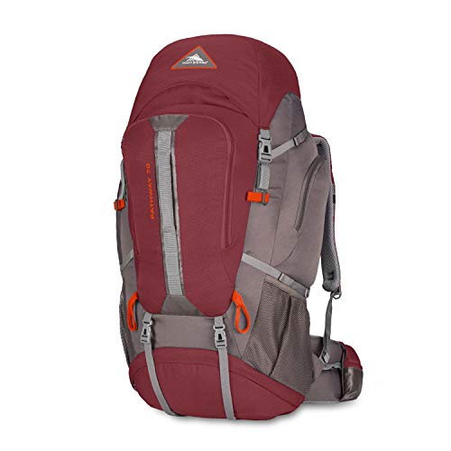 High Sierra Pathway 70L Top Load Internal Frame Backpack, Cranberry/Slate/Redrock