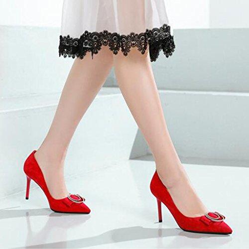 Estabilidad 8 De Fiesta 5 Tacones Graduación Sra Tacón Tamaño XUERUI Zapatos UK4 5cm Stilettos Sandalias Antideslizante de 5 CN37 EU37 Rojo Rojo Color tacón vYz4A