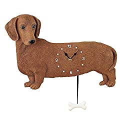 Collections Etc Brown Dachshund Wall Clock with Bone-Shaped Pendulum, Hand-Painted Gift Idea for Dog Lovers