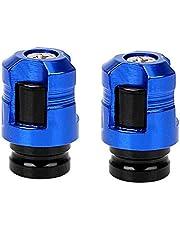 2 PCS Car Tyre Air Pressure Caps Tire Nozzle Decor Airtight Cover Aluminum Alloy Car Wheel Tire Valve Stem Cap CNC Process : Blue
