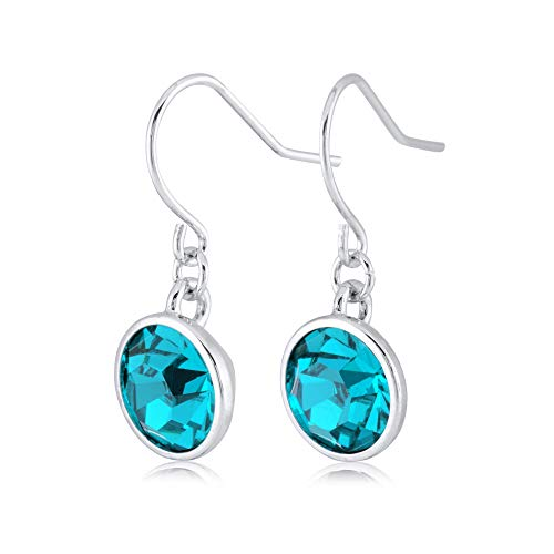 (UPSERA Blue Zircon Drop Dangle Earrings for Women Girls Crystals from Swarovski Silver Tone Plated Earrings)
