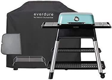 Everdure FORCE by Heston Blumenthal 2-Burner Liquid Portable Propane Gas Grill, Cover and Accessory Bundle Die-Cast Aluminum Body, Mint