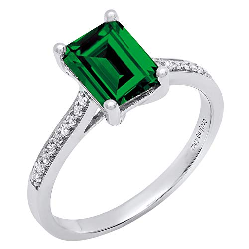 Dazzlingrock Collection 10K 8X6 MM Emerald Cut Lab Created Emerald & Round Diamond Engagement Ring, White Gold, Size 10