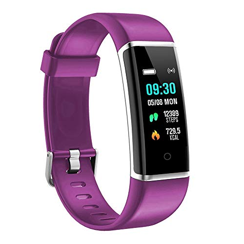 (moreFit Fitness Tracker, Solo Waterproof Exercise Watch Active Sleep Alarm Monitors Pedometers for Walking, Steps Miles Calories GPS Counter, Smart Wristband Bracelet for Women Kids Men (Purple))
