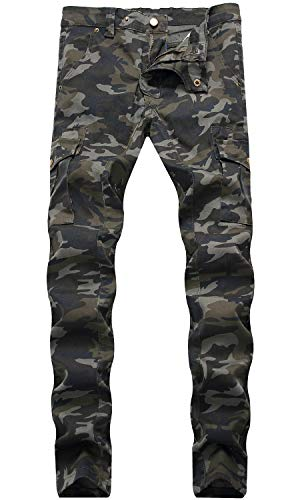 HENGAO Men's Camouflage Slim Fit Straight Skinny Denim Jeans Cargo Pants, 1757 Camo, W30