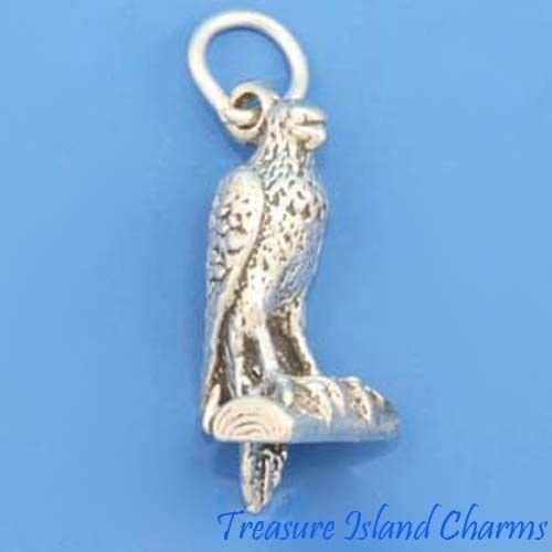 FALCON BIRD OF PREY 3D .925 Solid Sterling Silver Charm PENDANT MADE IN USA Jewelry Making Supply Pendant Bracelet DIY Crafting by Wholesale Charms