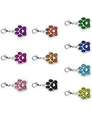 MILISTEN 10pcs Metal Cat Dog Paw Charm Glitter Animal Footprint Charms Pendant for DIY Bracelet Necklace Zipper Jewelry Making