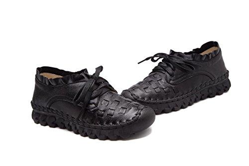 Señoras Talón Bajo Cruz Bombas Eur37uk455 Antideslizante Piel Mujeres Nuevos Sola Hebilla Genuina De Ronda Pisos Nvxie Ocio Cabeza Trabajo Salvaje Fiesta Zapatos Respirable E Preparación Otoño 54zCqAx