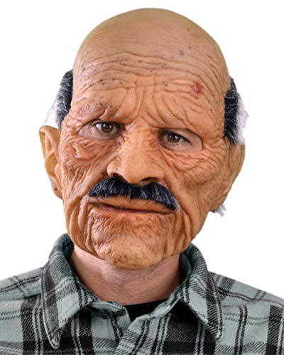 Halloween Old Mask (Zagone Bad Geezer Mask, Old Balding Man, Mustache,)