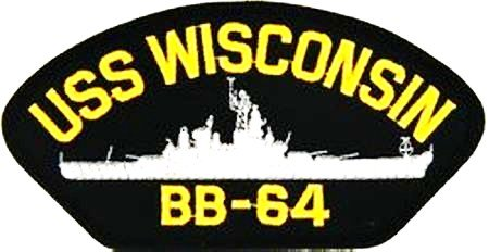 USS WISCONSIN BB-64 BLACK PATCH(Can be sewn or ironed on (Wisconsin Bb)