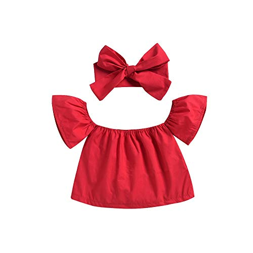 ❤Ywoow❤ Baby Clothes Set, Toddler Baby Kids Girls Off Shoulder Solid Tops T Shirt Summer Clothes Outfits]()