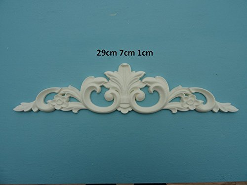 Decorative feather & scroll applique onlay furniture moulding R103 ()