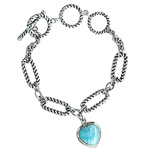 Tuoke 925 Sterling Silver Bracelet Chain Heart Natural Larimar Hand Chain Adjustable Charm Bracelet 14K White Golden Plated Silver Fine Jewelry for Women and Girl