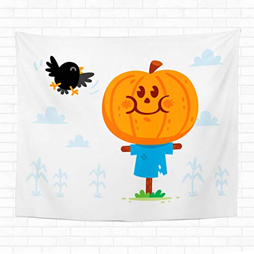 Halloween Sweets Clipart (Topyee 60x80 Inch Tapestry Wall Hanging Halloween Clipart! Cute and Sweet Scarecrow with a Pumpkin Head Have a Crow Friend Home Decorative Tapestries Wall Blanket for Dorm Living Room)