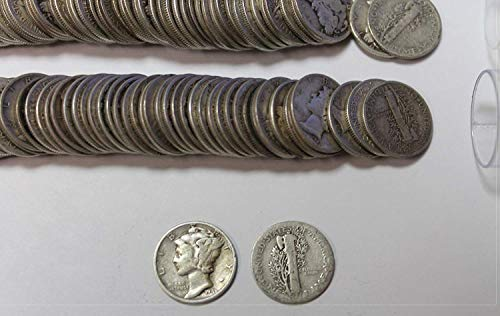 1916-1945 90% Silver Roll of Mercury Dimes 50ct. $5 Face Value Average - Value Dime Mercury