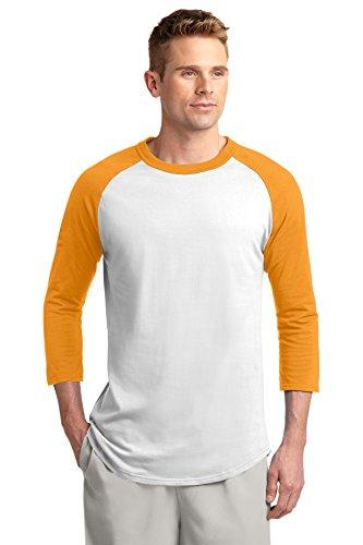 (Sport-Tek Men's Colorblock Raglan Jersey M White/Gold)