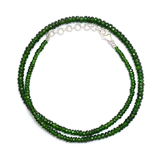 - Myhealingworld Natural Faceted Dark Green Color Gemstone Beads 16 Inch Beaded Necklace with Additional 2 inch Extension. Bead Size Varies from 2mm to 5mm.