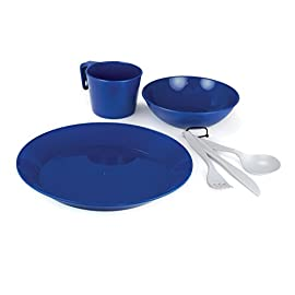 GSI Outdoors Cascadian 1-Person Table Set 1 Complete reusable outdoor dining set for one; great for camping, scouting, backpacking, and emergency prep Single 6-piece place-setting include plate, bowl, mug, and cutlery (fork, spoon, and knife) Made of lightweight, flexible polypropylene for years of use and easy clean-up