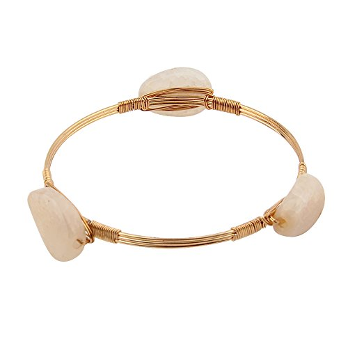 (KUIYAI Wire Wrapped Bangle Stackable Quartz Stone Bracelet Bourbon and Bowties Inspired Bridesmaid Gift (Gold and White))