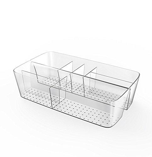BUDGET & GOOD Plastic Bathroom Vanity Organizer for Kitchen Bedroom Desk Cosmetic-8 Compartments