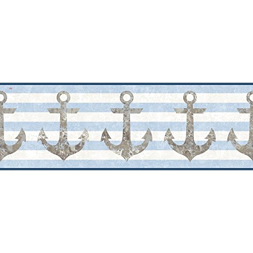 York Wallcoverings Nautical Living Anchors Away Border, Cream/Beige/Sky Blue/Taupe/Brown/Aged Silver Sheen