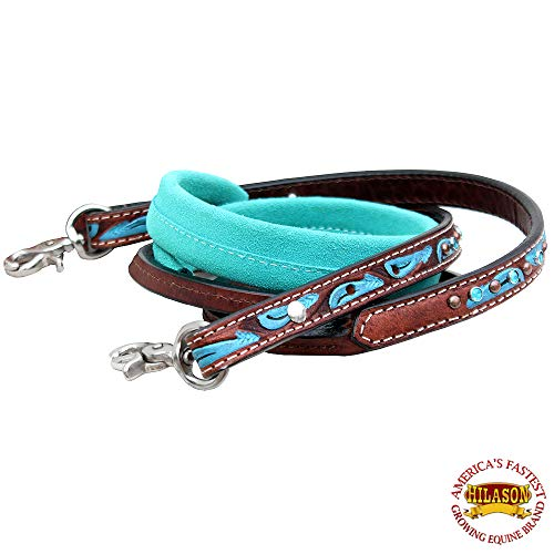 HILASON 8Ft Leather Suede Covered Horse Tack Roping Barrel Reins
