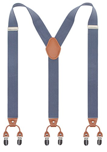 Bioterti Men's Y-Shaped Heavy Duty Suspenders - 6 Metal Clips, Elastic Straps (Light Blue)