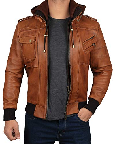 Edinburgh Mens Brown Hooded Leather Jacket - Detachable Hood