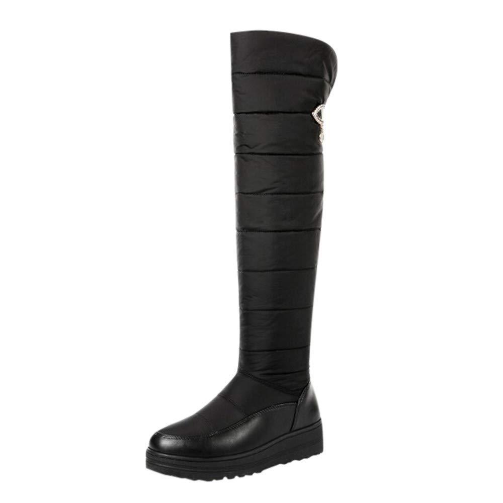 HhGold Damen Schnee knöchel Lange Lange Lange Stiefel, Damenmode solide Slip-on runde Spitze Flache Stiefel Schuhe (Farbe   Schwarz, Größe   4.5 UK) d847ec