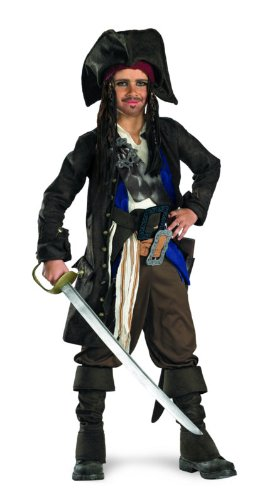 Captain Jack Sparrow Prestige Premium - Child Costume - Large (10-12) (Jack Sparrow Boys Costume)