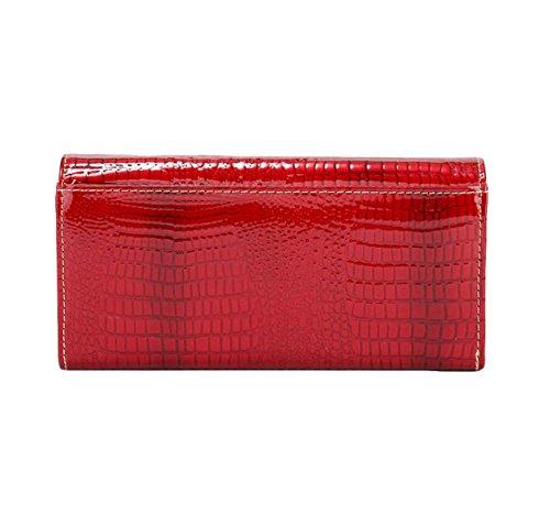 Damen-Tasche Lange Brieftasche Leder Brieftasche Hand Tasche Freizeit Mode Wild Red