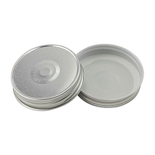 North Mountain Supply Regular Mouth Metal One Piece Mason Jar Safety Button Lids (Pack of 12, Silver)