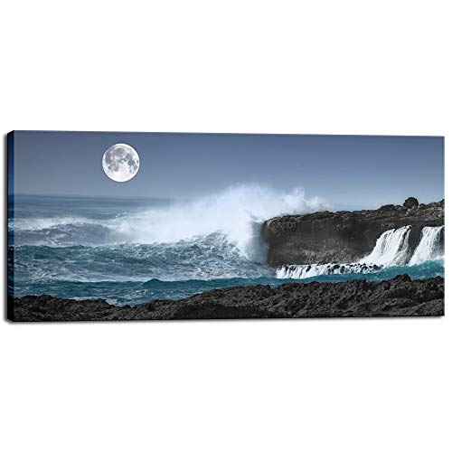 Biuteawal - Modern Canvas Prints Blue Ocean Seascape Wall Art Full Moon Night Ocean Wave The Pictures Landscape Print on Canvas Ready to Hang for Home Office Living Roon Bedroom Decor -