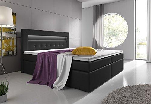 boxspringbett mit bettkasten led kopflicht hotelbett venedig lift bettmix. Black Bedroom Furniture Sets. Home Design Ideas