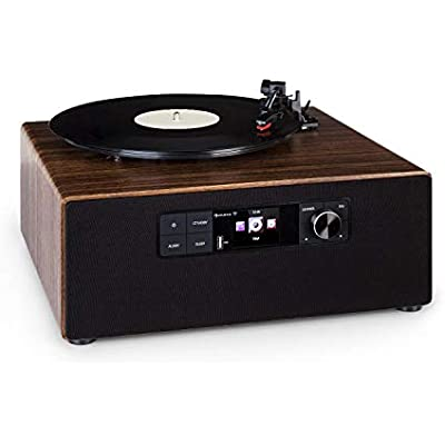 AUNA Connect Vinyl Cube Turntable Power  Max  Integrated Speakers  Smart Radio  Internet DAB FM  Turntable  33 45 rpm  Bluetooth Function  USB Port  App Control  Colour  Brown