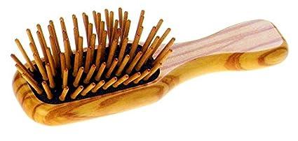 giolea Pneumatic Mini Cepillo de pelo de madera de olivo aprox. 12 cm con Premium