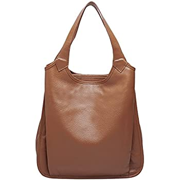 BOYATU Womens Tote Real Leather Handbag for Ladies Large Capacity Shoulder  Purse (Brown) 0ee8abd99f6d0