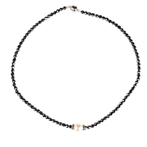 l Choker Necklace Single Pearl Necklace Freshwater Pearl Jewelry (Black) (Freshwater Pearls And Glass Bead Necklace)