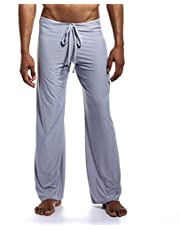 Romantiko Men's Long Ice Silk Yoga Pants Lounge Trousers Sleepwear Bottoms with Drawstring