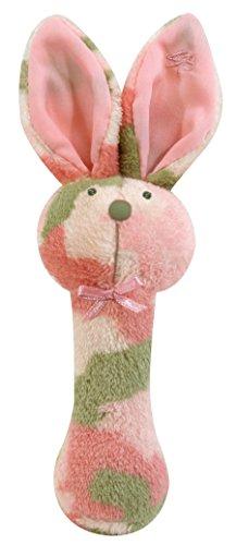 Camo Bunny (Stephan Baby Plush Fleece Bunnie Post Rattle, Pink Camo Print)