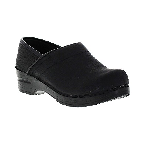 - Sanita Women's Professional Oil Closed Black Leather Clog - 8.5-9 B(M) US