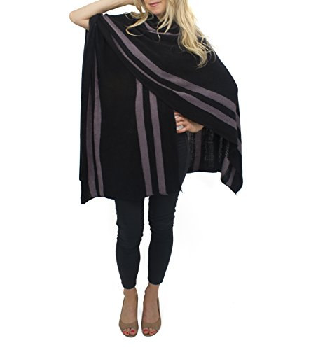 jessica-mcclintock-striped-knit-cape-ruana-wrap-shawl-pashmina-poncho-black-grey
