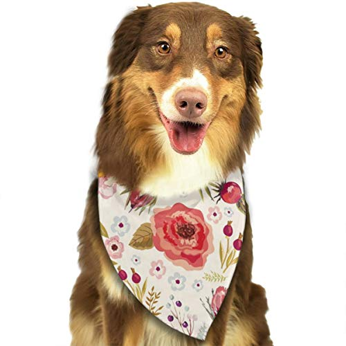 (Pet Dog Bandana Triangle Bibs Scarf Shabby Chic Flowers Roses Pedals Dots Leaves Buds Spring Season Hankie Headchief for Small Medium Large Dogs - Birthday Bandana Scarves Great Dog Birthday Gift)
