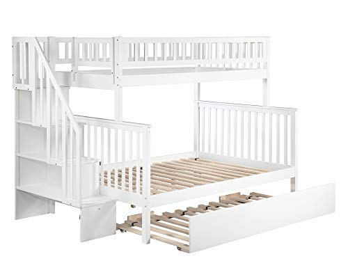 Atlantic Furniture AB56752 Woodland Staircase Bunk Bed with Urban Trundle Bed, Twin/Full, White