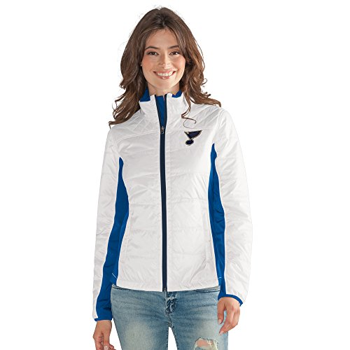 GIII For Her NHL St. Louis Blues Women's Grand Slam Full Zip Jacket, Medium, White (Jacket Womens Louis)