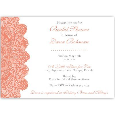 Bridal Shower Invitations, Lace, Coral, White, Wedding, Vintage, Classic, Personalized, Customized, Set of 10 Printed Invites with Envelopes, Lovely Lace (Coral Invitations)