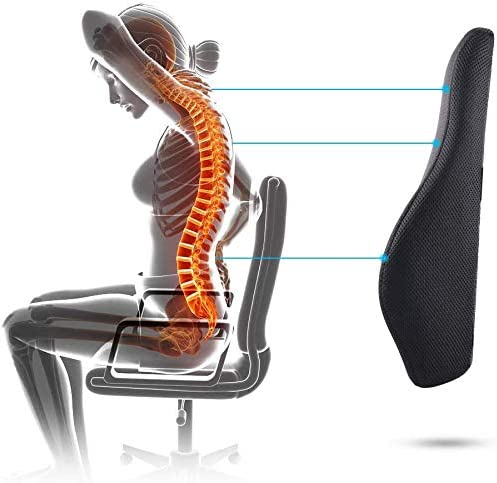 Recliner 100/% Pure Memory Foam and Breathable 3D Back Pillow Design for Lower Back Pain Relief Ergonomic Lumbar Support Pillow Back Cushion Durable 2 Adjustable Straps for Office Chair Car Seat