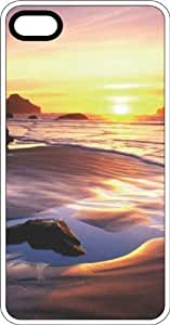 Beach Sunrise White Rubber Case for Apple iPhone 4 or iPhone 4s
