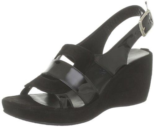 Accessoire Diffusion, Damen Sandalen Schwarz - Noir (Velours Noir/Vernis Noir)